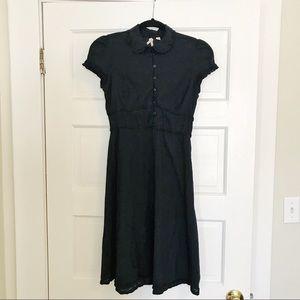 Anthropologie Maeve Black Dress Collar and Ruffles